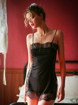 Summer thin sexy split sex home dress ladies lace tight sling ice silk nightdress set sleepwear ladies sexy nightdress straps perspective pattern sexy sleepwear detachable chest pad lace sexy ladies home service