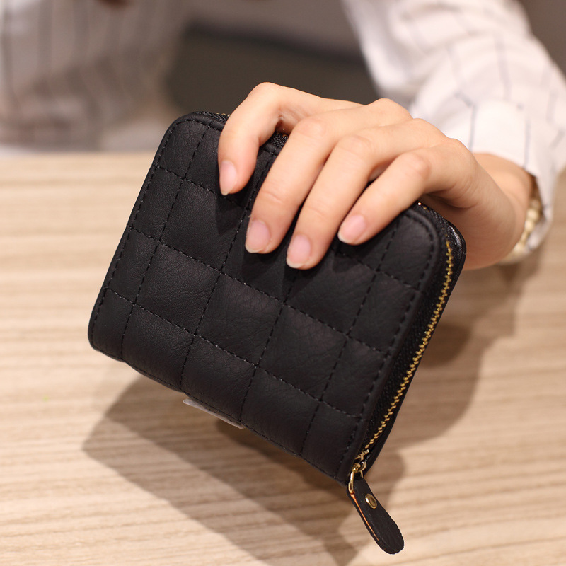 Women Short Wallets PU Leather Female Plaid Purses Plaid Card Holder Wallet Fashion Woman Small Zipper Wallet With Coin Purse
