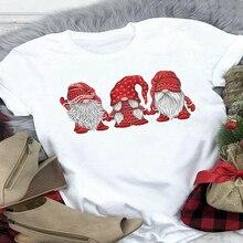 Lus Los Christmas Gnomes Santa Claus Print Tshirt Women O-neck Short Sleeve Tshirts Harajuku Ulzzang
