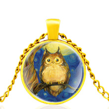 2020 New Gold Color OWL Glass Dome Metal classic Necklace Vintage Men and Women Jewelry Gift