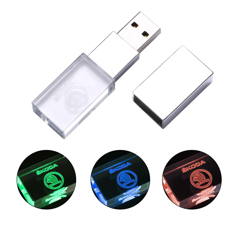 Skoda Kristal + Metalen Usb Flash Drive Pen Drive 4Gb 8Gb 16Gb Pendrive 32Gb 64Gb 128Gb Stick Memory Stick U Schijf 5