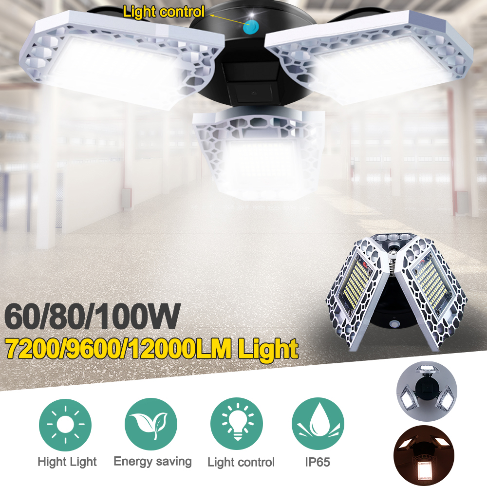 Super Bright Garage Light E27 60W/80W/100W LED Garage Ceiling High Bay Lamp Waterproof IP65 For Warehouse Gymnasiums Theaters
