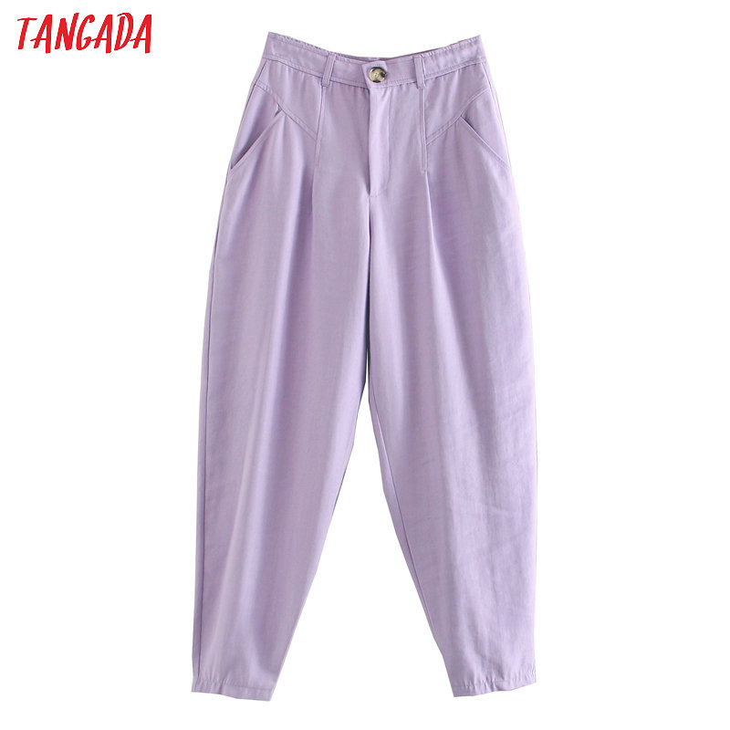 Tangada Casual Pants Trousers Buttons Purple Female Fashion Women Pockets 3L15