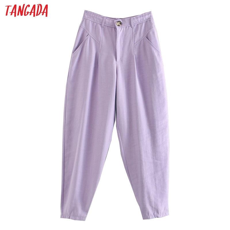 Tangada 2020 Fashion Women Purple Banana Pants Trousers Pockets Buttons Female Casual Pants Pantalon 3L15