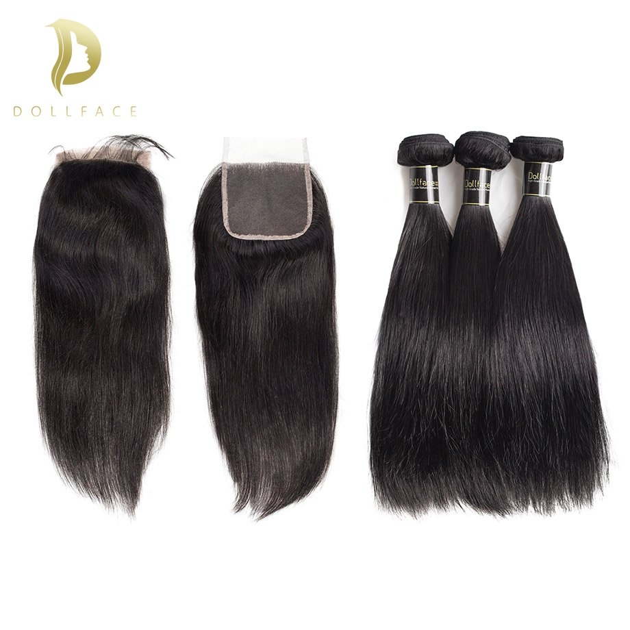 Human Hair Bundles With Closure Brazilian Hair Weave Bundles Straight Hair 3 Bundles With Closure Pre Plucked With Baby Hair