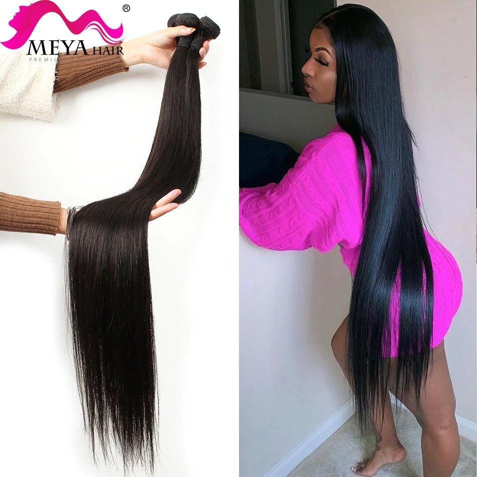 Meya em linha reta 26 28 30 32 40 Polegada remy virgem tecer cabelo brasileiro feixes de cabelo humano cor natural 100% extensão do cabelo humano|Apliques ondulados|   -