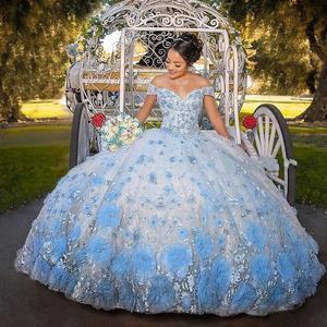 2021 детские синие милые платья 16 Quinceanera для девочек с объемными цветами, кружевное милое бальное платье на шнуровке, vestidos de 15 años 2020