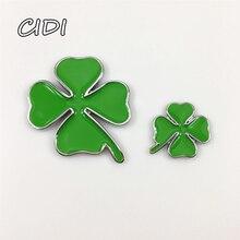 1 pcs 3d metal green clover day badge four leaf chrome emblem