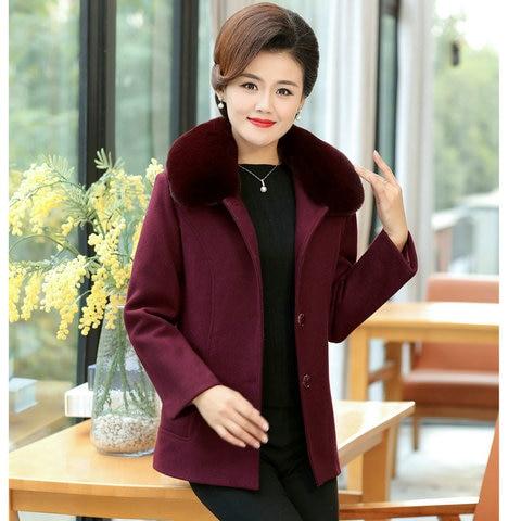 Winter Women Wool Blend Pea Coats Green Purple Red Thick Warm Fur Turn Down Collar Tweed Jacket Mature Women Elegant Peacoat 4XL Karachi