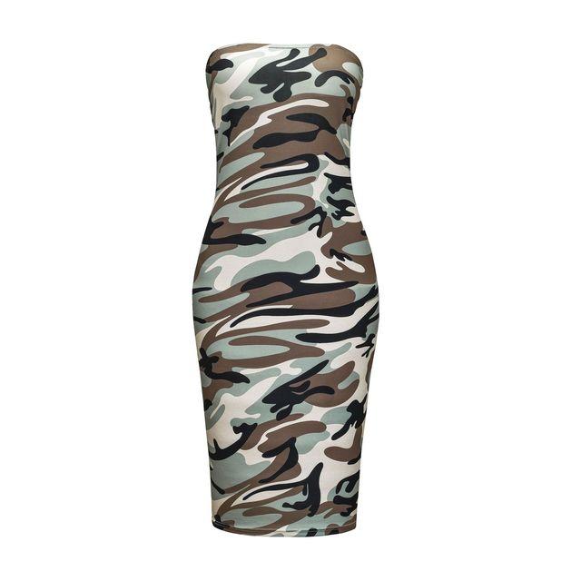 Women's dress stretch Slim Soft midi dress Sexy Club wrapped chest tie-dye printing camouflage Beach Halter Dress Casual Dresses 4