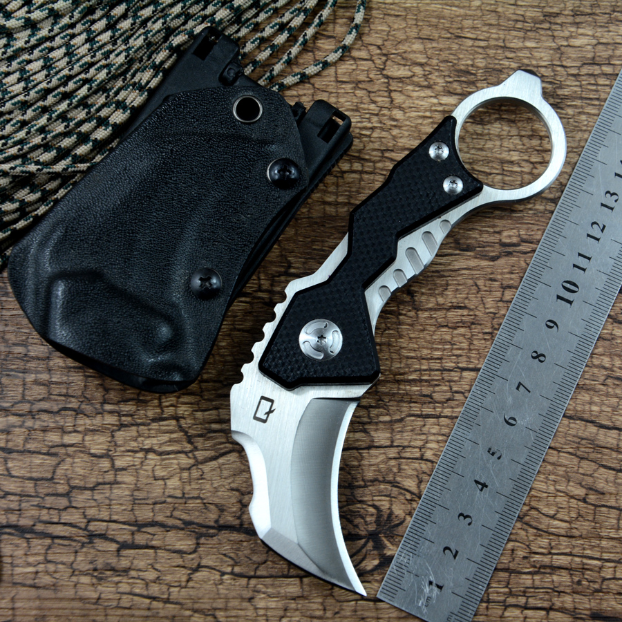 Y-START Claw Knife D2 <font><b>Karambit</b></font> Fixed Outdoor Camping Survival Knives <font><b>G10</b></font> handle Utility with Kydex sheath image