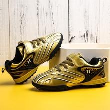 Детские спортивные футбольные кроссовки противоскользящие футбольные кроссовки для мальчиков и девочек новые крутые детские спортивная обувь для тренировок Золотые Кроссовки