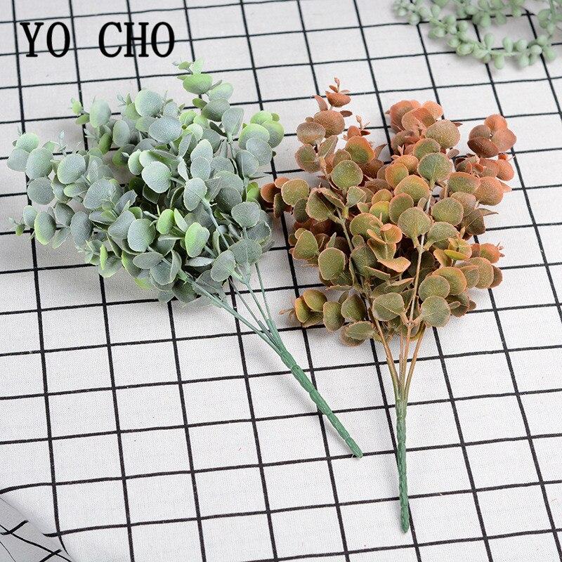 Künstliche Pflanze Kunststoff Eukalyptus Baum Zweig Nebel Grün Eucylaptus Blätter für Hochzeit Decor Home TableArrangment Faux Laub