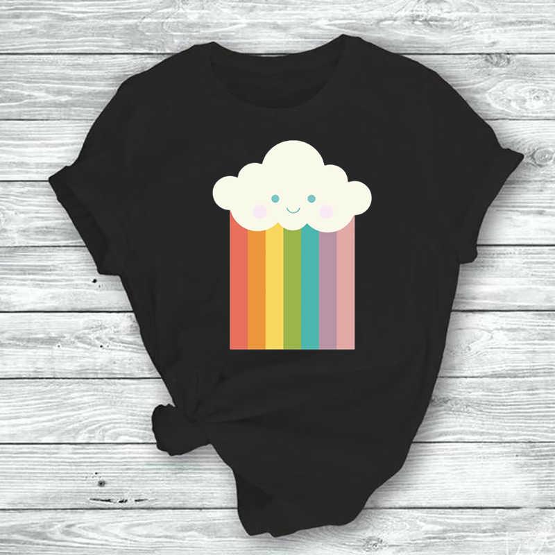 Cloudy Rainbow  Print Women Tshirt Casual Funny T Shirts Short Sleeve Women Tumblr Streetwear