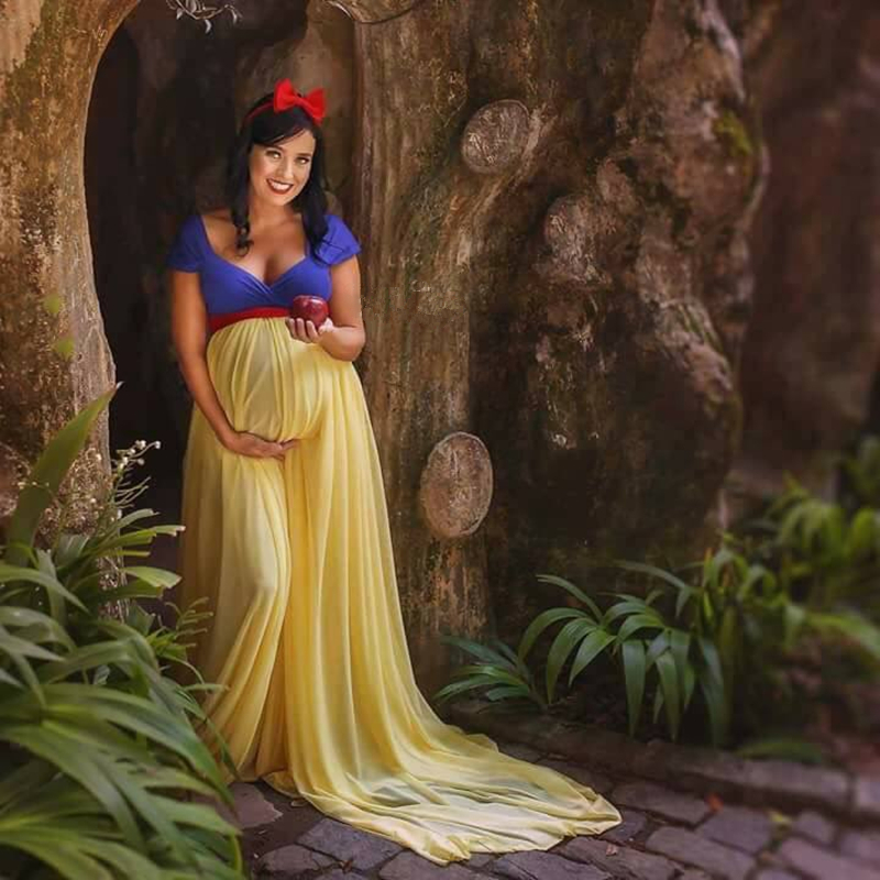 Princess Cosplay Maternity Photography Props Long Dress Blue And Yellow Chiffon Pregnancy Photo Shoot Maxi Dresses