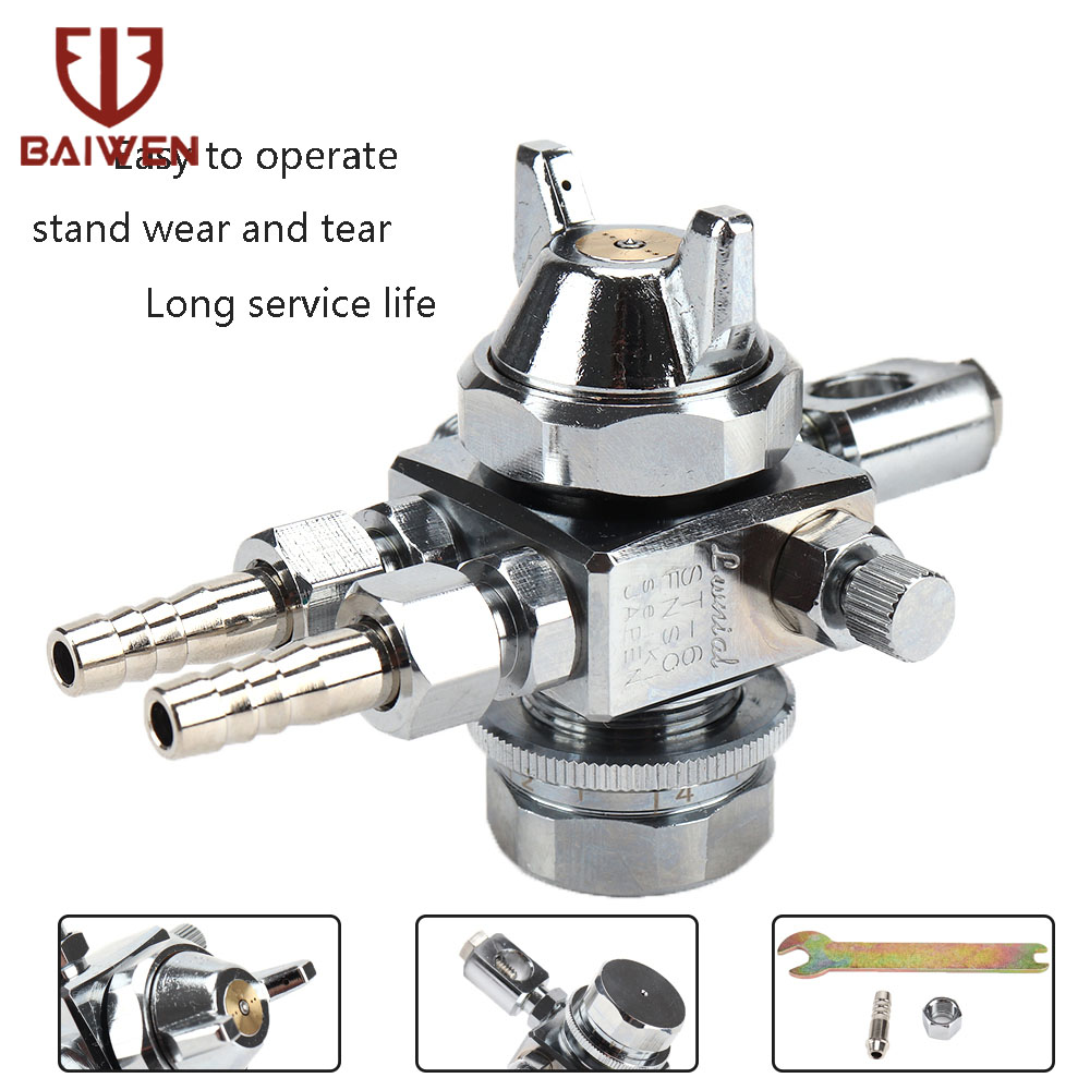 Chrome Spray Gun Two Head Paint Gun Dual Nozzle Sprayer With Double-heade Nozzles Stainless Steel Needles Powerful Painting Tool