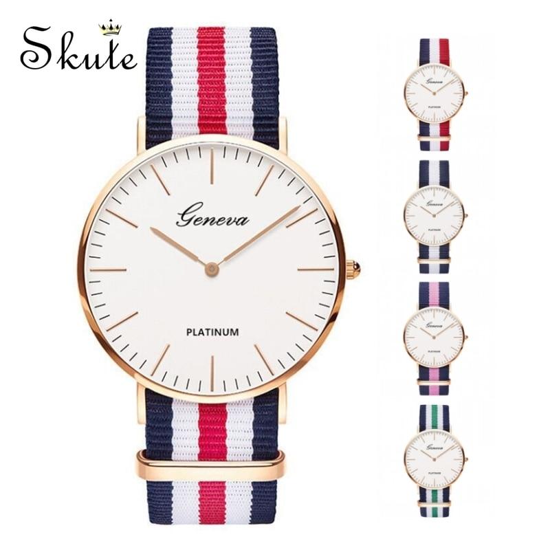 Skute Fashion Women Quartz Watch Men Geneva Classic Stripe Nylon Band Canvas Strap Watch Casual Wrist Watches Clock Reloj Montre