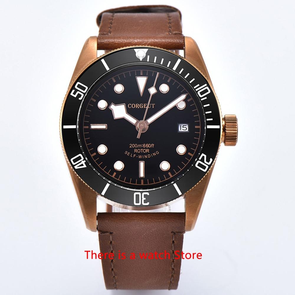H3c198ac83bd643f89d52a9404e1e5610V Corgeut 41mm Automatic Watch Men Military Black Dial Wristwatch Leather Strap Luminous Waterproof Sport Swim Mechanical Watch