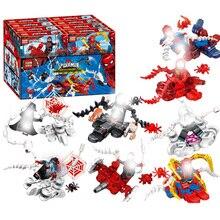 8pcs/lot Spiderman Spider-man Far From Home Anti Venom Carnage Spider Gwen Man Batman Avengers Building Blocks Toys Figures