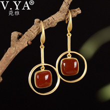 V.YA Natural Stone Drop Earrings Real 925 Sterling Silver Red Agate Earrings for Women Handmade Fine Jewelry lotus fun moment real 925 sterling silver natural blue stone fashion jewelry cute hollow out honeybee dangle earrings for women
