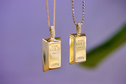 18K Import Solid Yellow Real Gold Jewelry(AU750)Women Chain Ins Simple Style Small Gold Bar Lettering Diamond Necklace Pendant