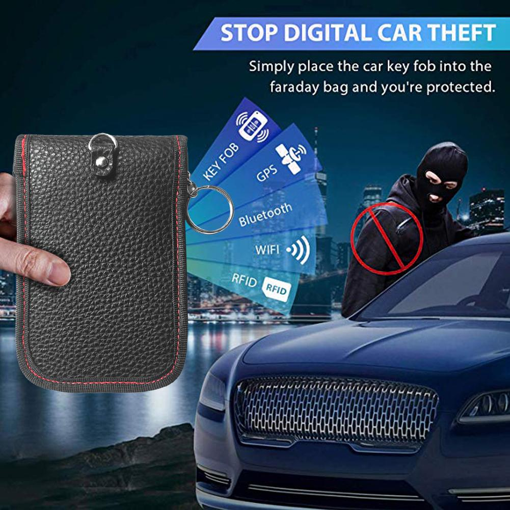 Car Key Signal Blocker Case Anti Theft Fob Protector Pouch Credit Card Protector PU Leather Cell Phone Privacy Protection Security WiFi GSM//LTE//NFC//RF Blocker