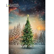 Laeacco Winter Snow Christmas Tree Stat Ball Forest Outdoor Scenic Photography Backdrops Photocall Photo Background Photo Studio kate winter backdrops photography ice snow tree scenery photo shoot white forest world backdrops for photo studio