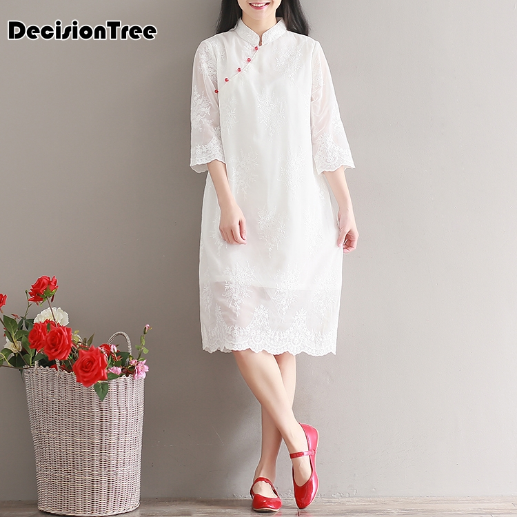 2019 Women Chinese Dress Long Cheongsam Vietnam Traditional Robes Aodai Graceful Stand Collar White Lace Dress Qipao Vestidos