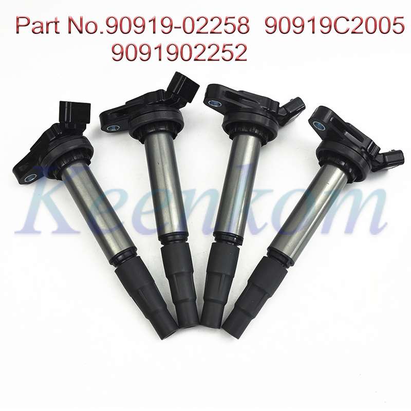 4pcs Ignition Coil for Toyota Corolla Prius Scion IM xD 1.8L 90919-C2003 90919-C2005 90919-02252 90919-02258 UF-596 C1714 UF-619 image