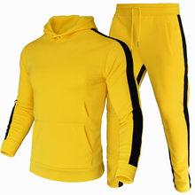 Calças de treino de corrida dos homens 2 pcs treino outono inverno roupas esportivas correndo moletom solto ajuste roupas masculinas