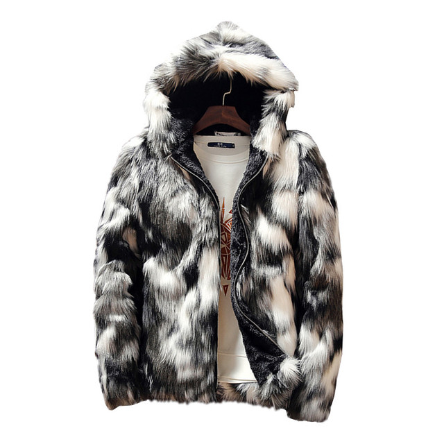 Winter Faux Fur Thick Mens Jackets & coats Fashion Men and Women Couples Warm and Comfortable Clothing Slim Gray Men Coat S 3XL