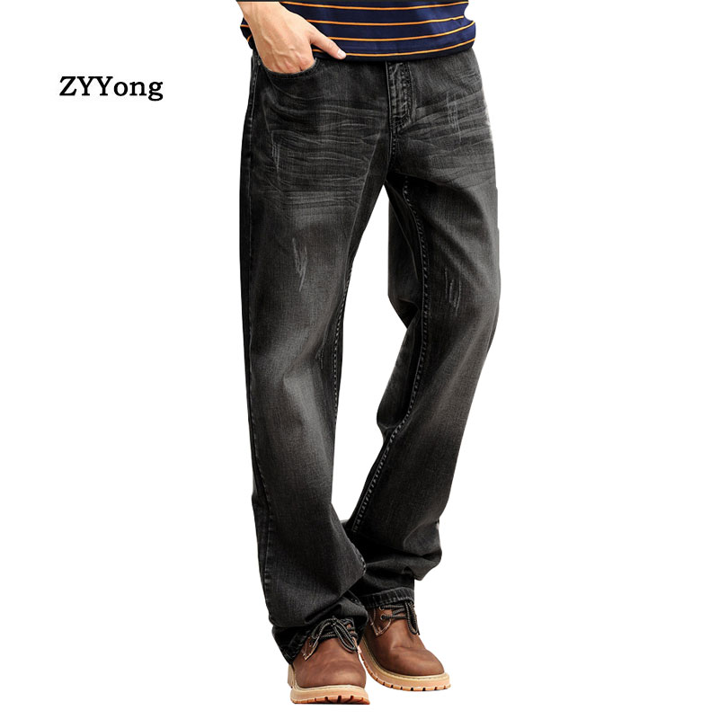 New Men Baggy Jeans Straight Large Size Comfortable Wide Leg Denim Pants Hip Hop Streetwear Skateboard Elastic Black Trousers