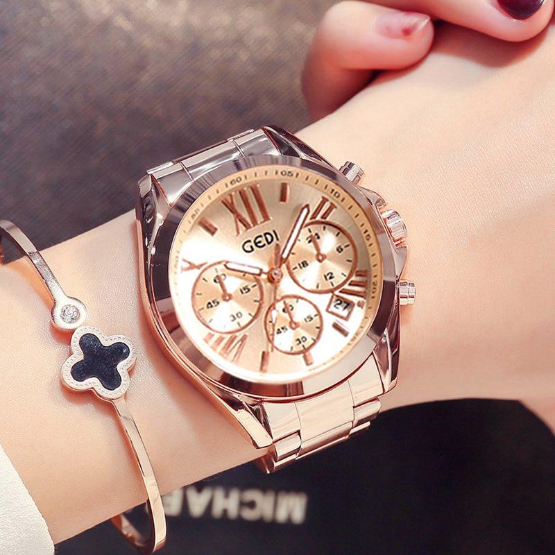 Luxury Rose Gold Women Casual Watch Waterproof Calendar Unique Quartz Business Dress Watches For Female Golden Lady Clock