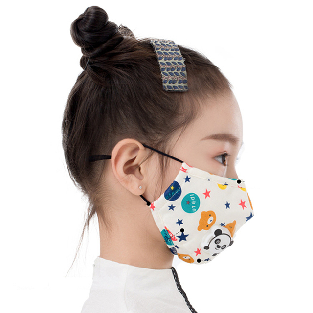 Cartoon 3-10 year old Kids mask PM2.5 Anti Haze Cotton Mask Breath valve anti-dust mouth mask Activated carbon filter respirator 4