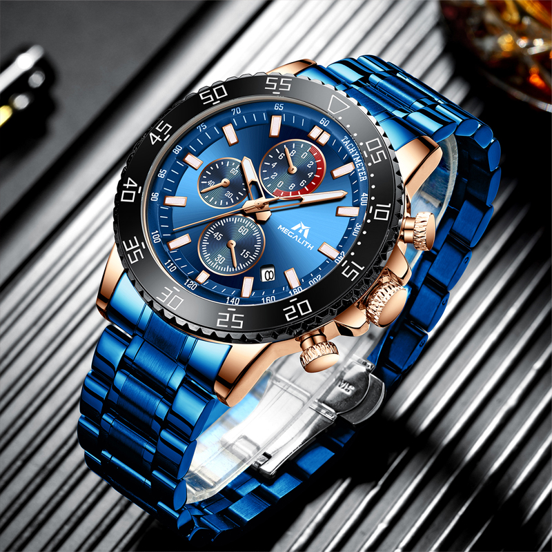MEGALITH Top Brand Men Watches Fashion Bussiness Quartz Watch Mens Chronograph Wristwatch Relogio Masculino Can Shipping From US