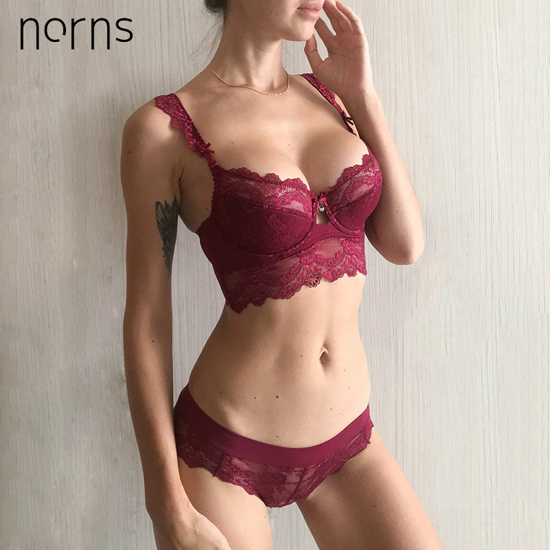 Norns Women Thin Sexy Lace Bralette Set Underwear  Push Up Lingerie Femme Sexy Bra And  Lace Plus Size Lingerie Set
