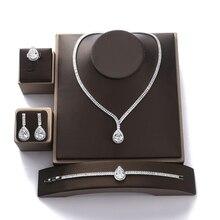 Zestaw biżuterii HADIYANA Gorgeous kobiety Wedding Party biżuteria naszyjnik bransoletka kolczyki i zestaw pierścieni cyrkon BN7747 Conjunto de joyas