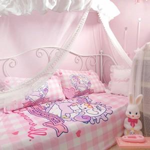 Image 2 - 4 Pcs/set Lovely Anime Unicorn Cinnamoroll Cotton Bedding Set Cartoon Pattern Bedlinens Lattice Duvet Cover Bed Sheet Pillowcase