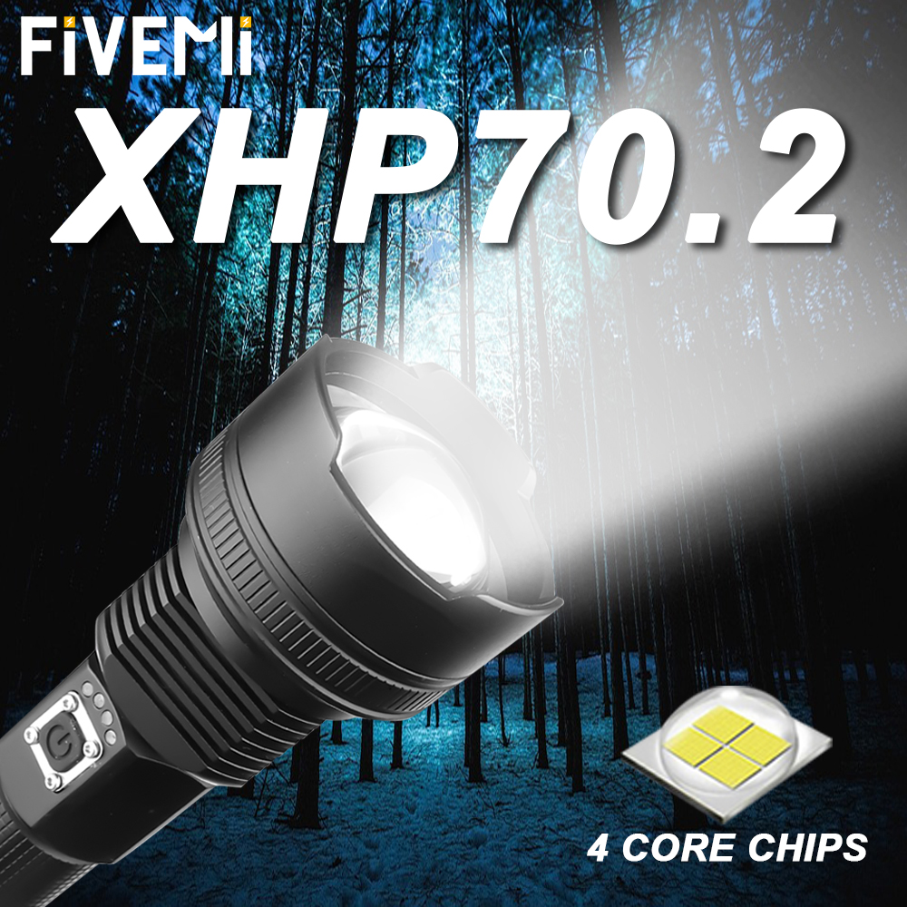 Powerful LED Flashlight With XHP 70.2 Lamp Bead Zoomable 3 Lighting Modes LED Torch USB Rechargeable For Camping Hunting Lamp