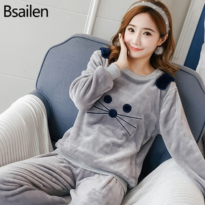 Image 2 - New Spring Winter Anti Cold Keep Warm Women Coral Fleece Pajamas Set of Sleepcoat & Lady Thermal Flannel Home Clothing Bottoms