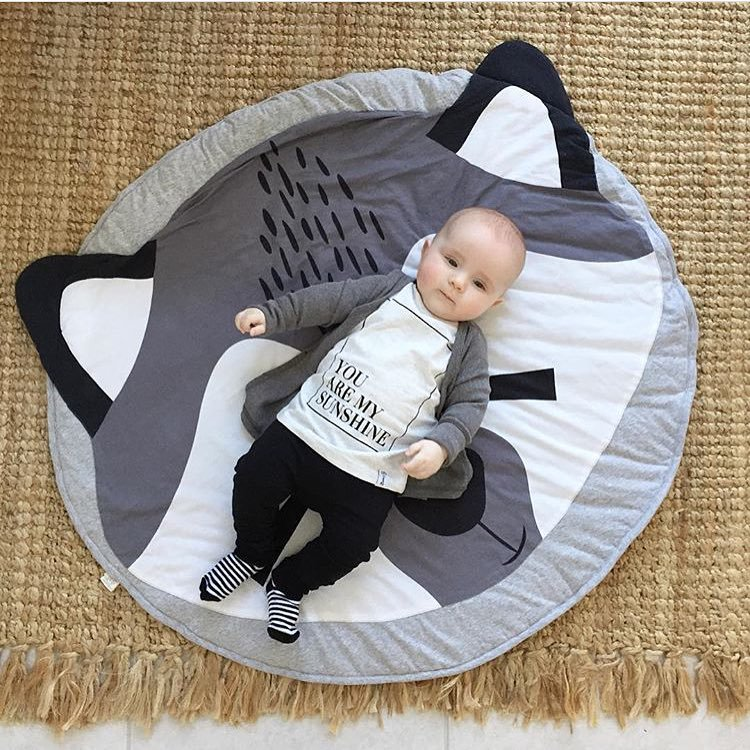 2019  cute Play Game Mats Round Carpet Rugs Cotton Animals Play Mat Newborn Infant Crawling Blanket Floor Carpet Baby Room Decor | Happy Baby Mama