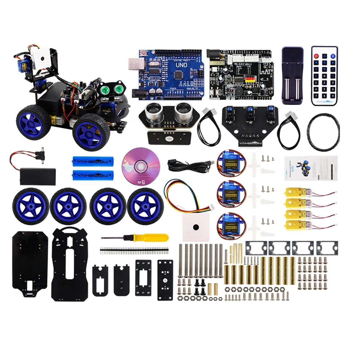 Scratch3.0 Luminescent Ultrasonic Module Smart Robot Car Wifi Camera Gimbal Kit For Arduino UNO(No Battery)(With Two Batteries)