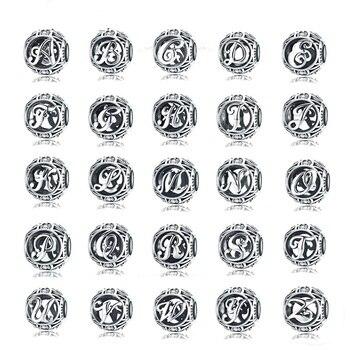 WOSTU 925 Sterling Silver jewelry charms Vintage A-Z Letter Alphabet Charms Fit Original Bracelets  silver 925 original Jewelry wostu authentic 100% 925 sterling silver cute owl love story charms fit original wst bracelets diy jewelry gift cqc425