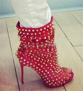 Image 5 - Hot Selling Vrouwen Mode Peep Toe Suède Gouden Klinknagel Dunne Hak Korte Gladiator Laarzen Slip On Sexy Enkel booties