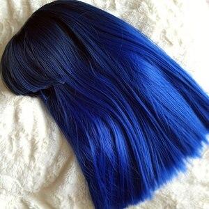 Image 2 - COSYCODE נשים פאה עם פוני 16 inch 40 cm ישר שחור כדי כחול 2 טון ללא תחרה סינטטי פאה קוספליי תלבושות כתף אורך