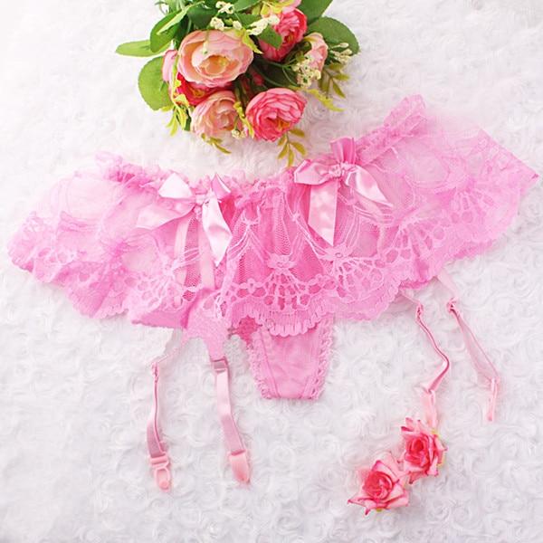 Женские сексуальные черные чулки с подвязками, пояс для девочек, подвязки, кружевные подвязки, стринги, нижнее белье с цветочным рисунком для девочек - Цвет: Розовый