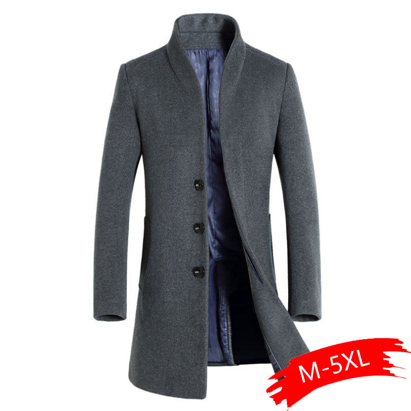 Coat Male Wool Autumn Long Winter Fashion Casual Mens New And Windbreaker Standing-Collar