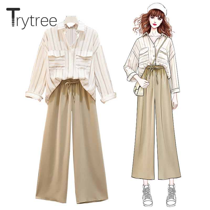 Trytree Autumn Women Two Piece Set Casual Turn-down Collar Striped Tops + Pants Elastic Waist Drawstring Office Lady 2 Piece Set