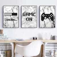 Gaming Marble Minimalist Art Canvas Painting Poster Boys Room Decoration , Video Game Wall Pictures Prints Playroom Wall Decor
