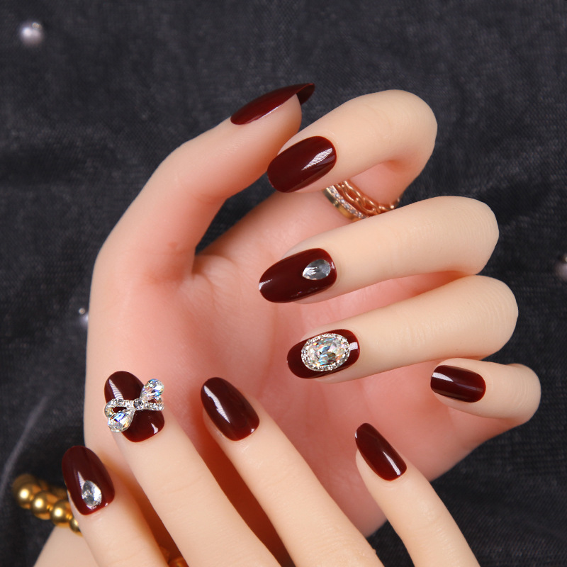 Wedding Nail Sticker Bride With Diamond Fake Nails Patch Marriage Online Celebrity Wearable Disassembly Diamond Set Nail Tip Fin